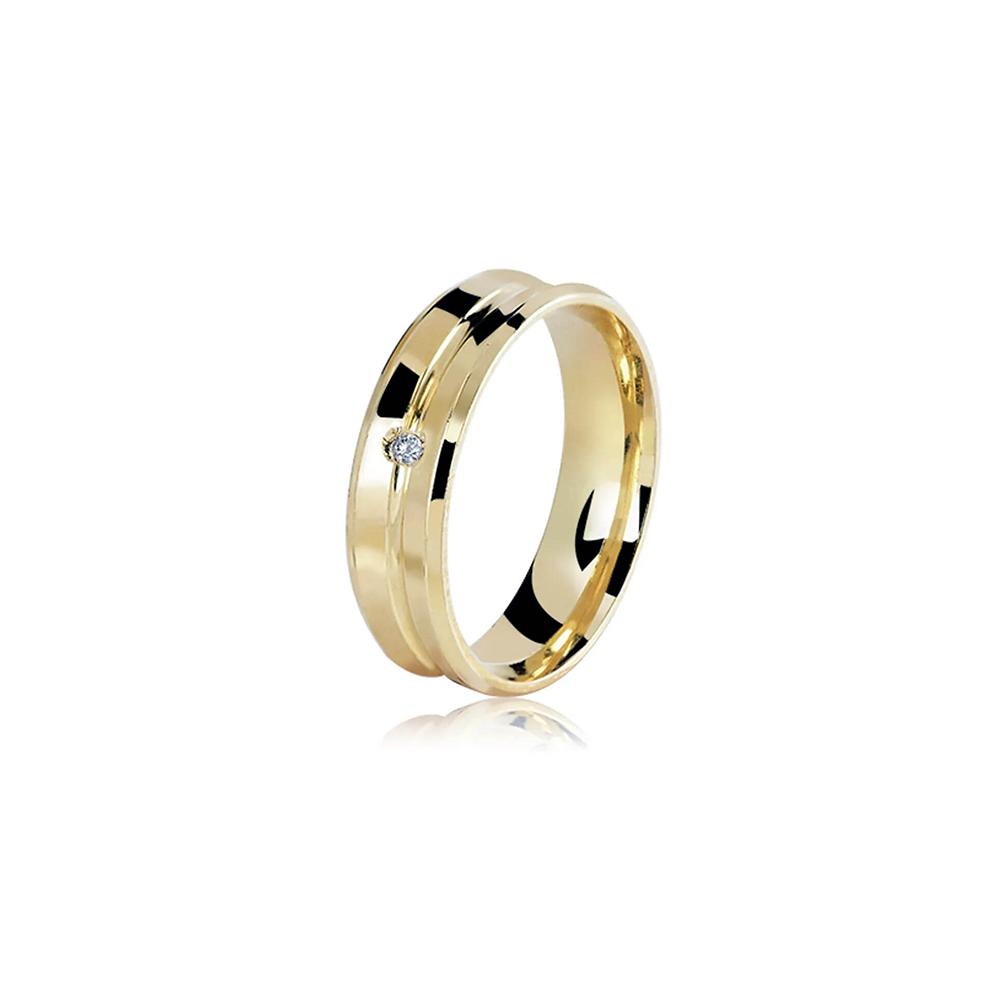 Aliança de Ouro Fileto Diamond