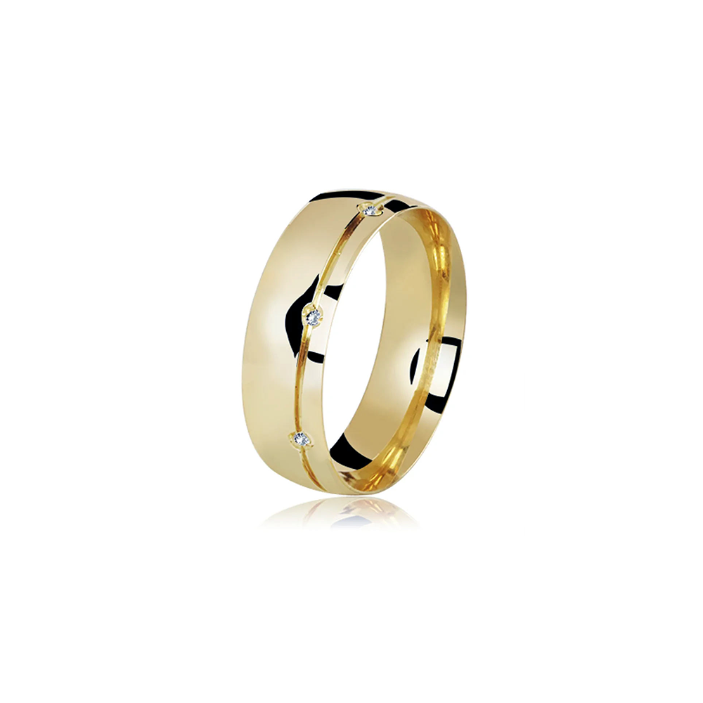 Aliança de Ouro Forever Premium Crystalis