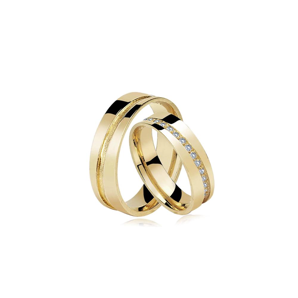 Par de Alianças de Ouro Santorini Crystal